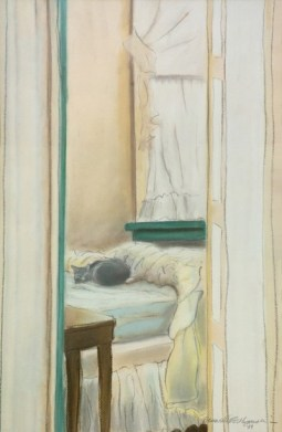 pastel painting of cat on bed