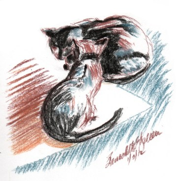 pasetl sketch of two cats
