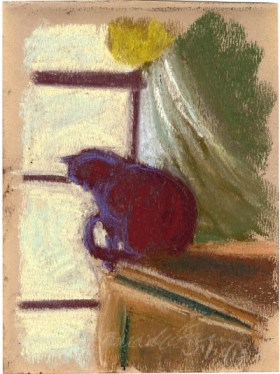 pastel sketch of cat looking out window