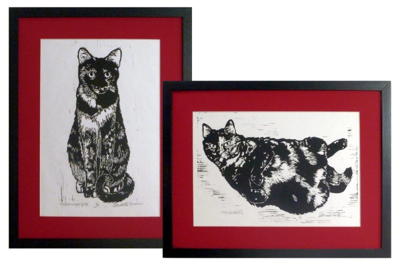 linocuts of tortoiseshell cats