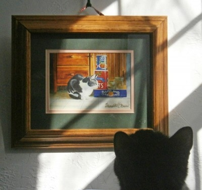 black cat looking at painting