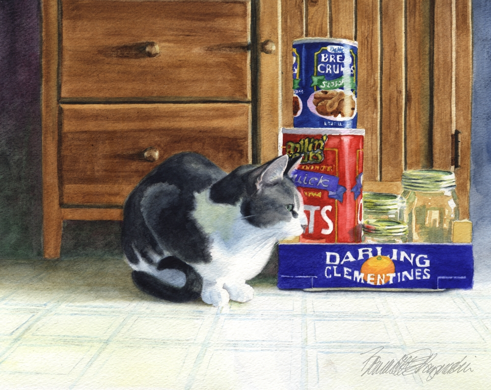 watercolor of cat in kitchen