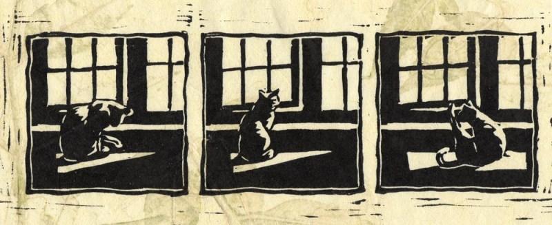 block print of cat at window