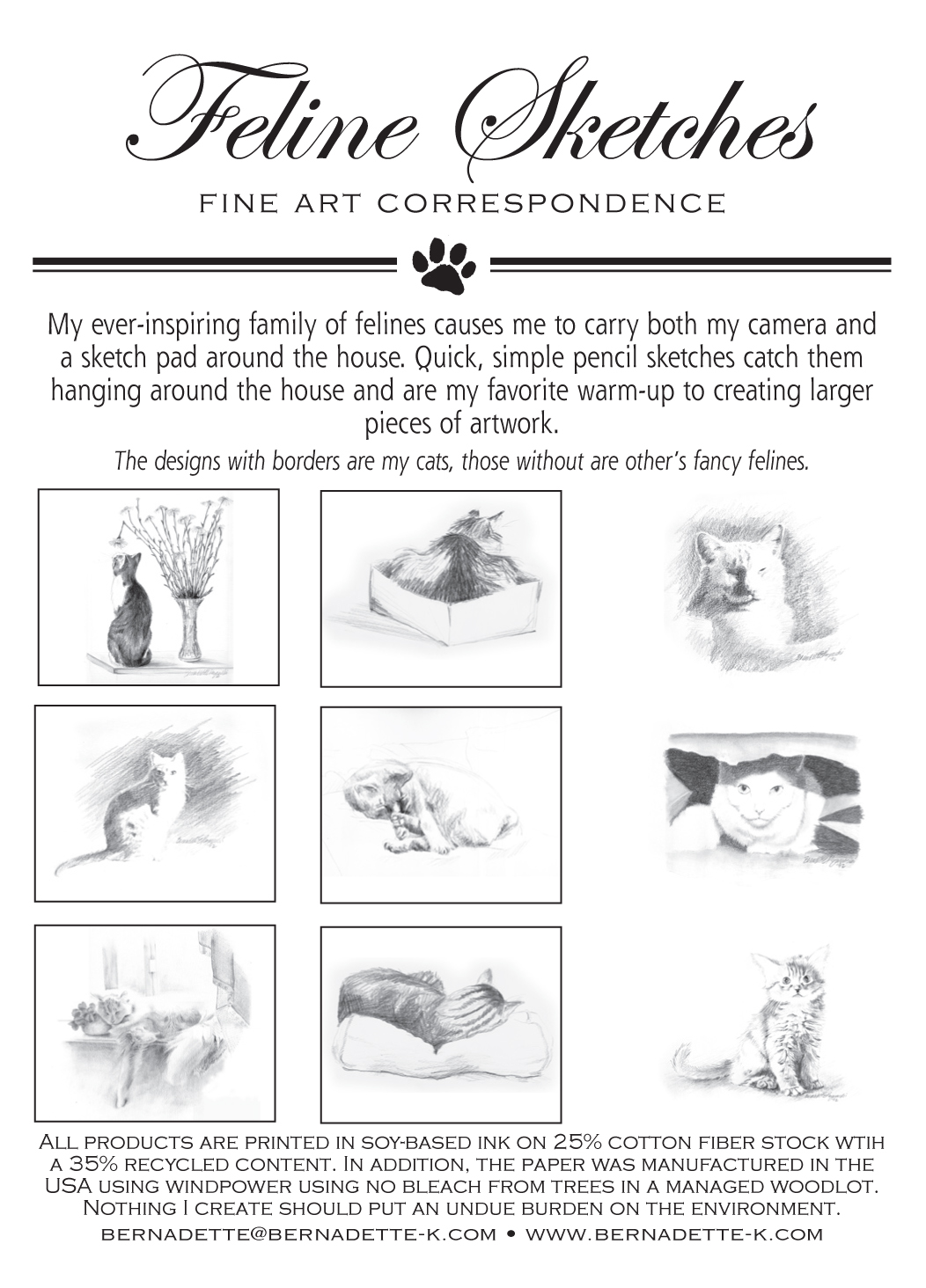 Feline Sketches Fine Art Correspondence