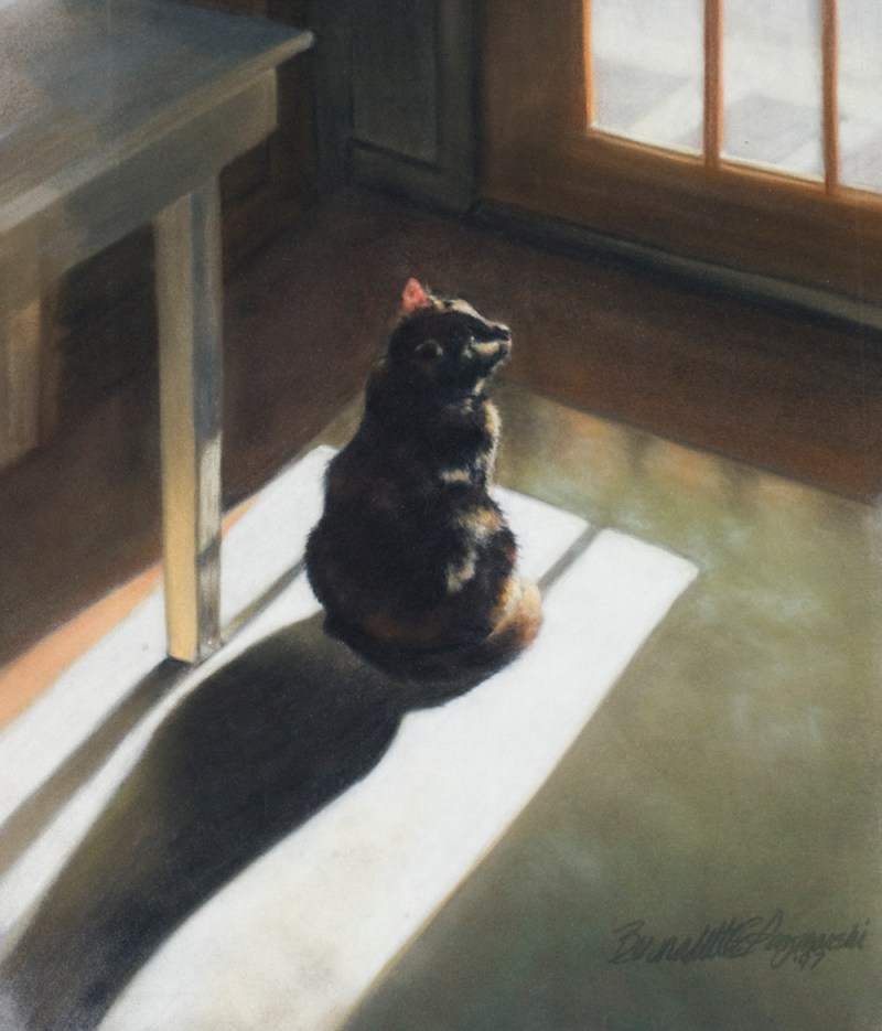 pastel painting of cat looking out door