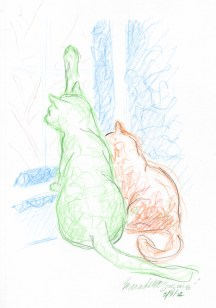 colore pencil drawing of two cats