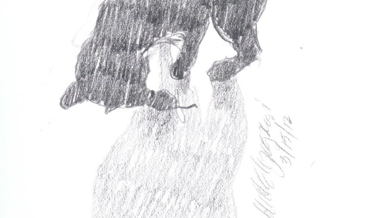 pencil sketch of cat silhouette