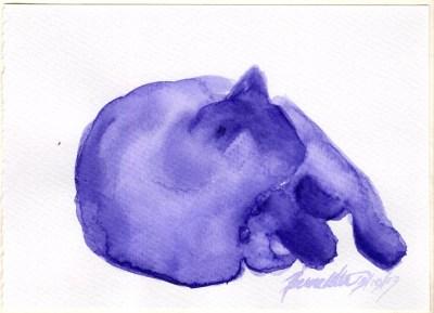 purple watercolor of cat sleeping