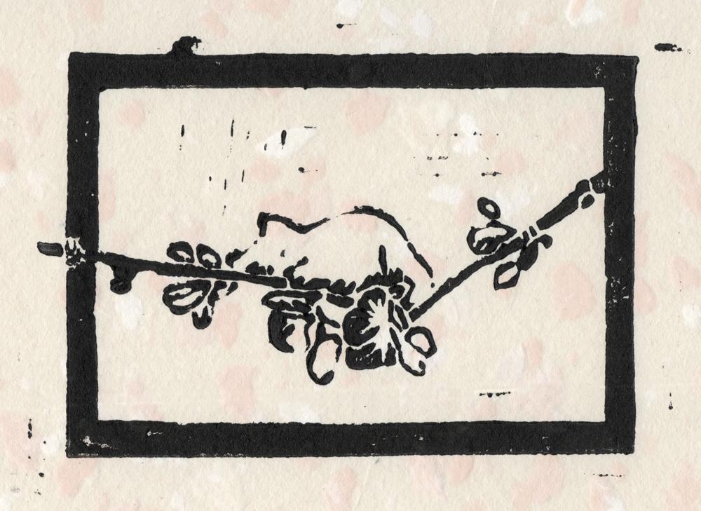 """The Spring Kitten"" linoleum  block print on handmade buff paper with white and pale orange flecks"