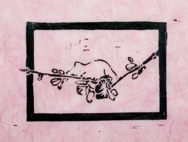 """The Spring Kitten"" linoleum  block print on pink silk and rice paper"