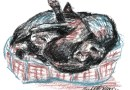 pastel sketch of three cats in a bed