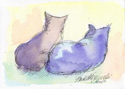 watercolor and ink sketch of two cats.