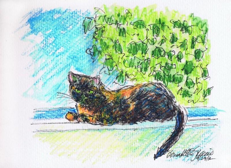 watercolor of cat on windowsill