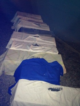 traps covered with sheets