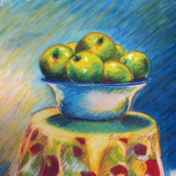 oil pastel of apples in bowl