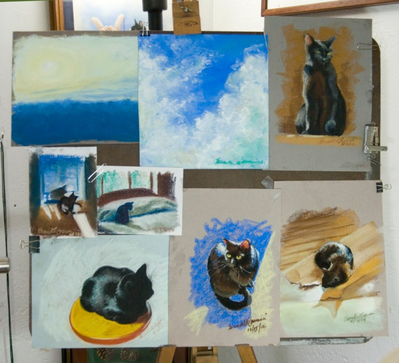 pastel sketches on easel