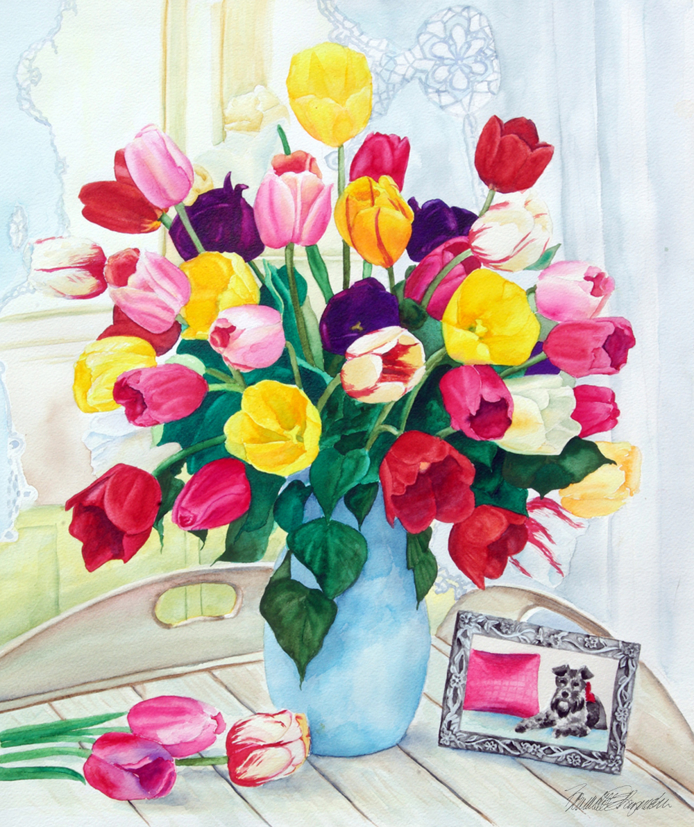 watercolor painting of tulips and dog