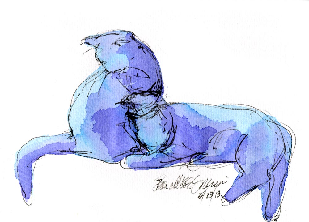 Daily Sketch Reprise: Blue Purple Cats