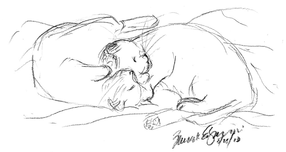 Daily Sketch Reprise: A Sweet Cuddle, 2013