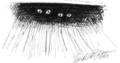 sketch of two cats under table.