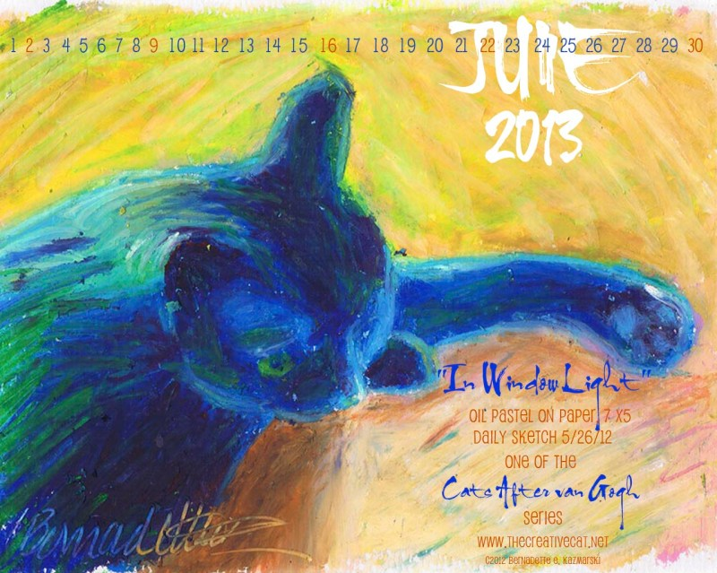 """""""In Window Light"""" desktop wallpaper and desktop calendar for June 2013"""