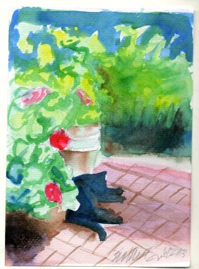 watercolor of cat in garden