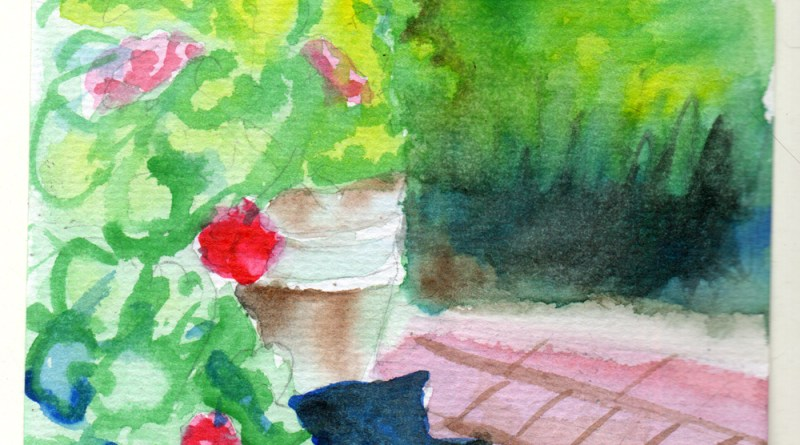 watercolor of cat in garden