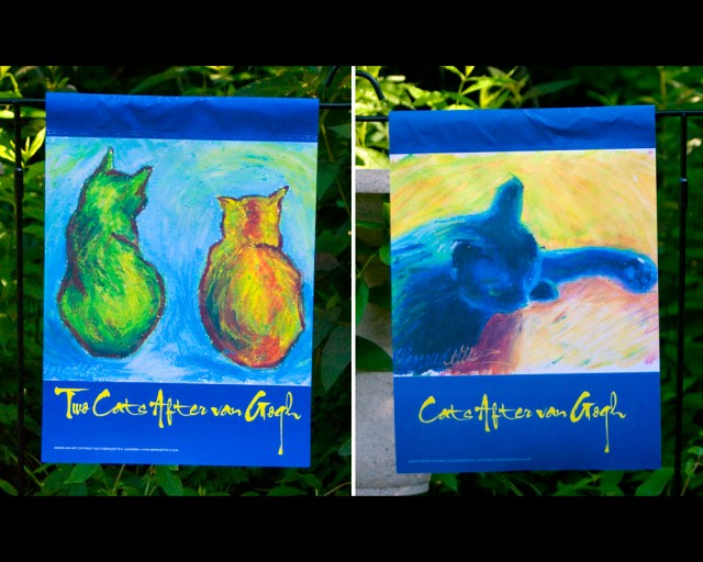 cats after van gogh garden flag