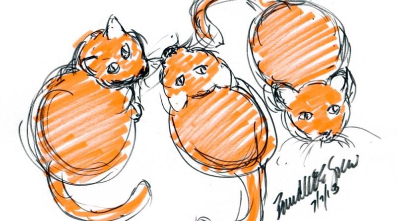"""""""Three Orange Cats Waiting for Dinner"""", brush markers, 8.5"""" x 7"""" © Bernadette E. Kazmarski"""