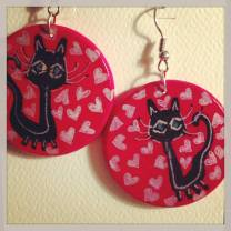 black cat collection designed specifically for this auction, Materials-Wood w acrylic and ink ... size 1-1/2 in circle,  value $35.00 pr pair, FREE SHIPPING (other styles and colors available
