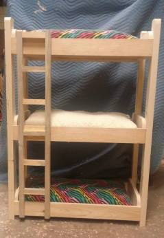 "Hand Crafted Kitty Bunk with cushions: Solid wood that was made by and will be finished by a professional. Any color/sheen to be chosen by the winner. Dimensions are 34"" W x 19"" D x 48""H. Comes with cushions shown here. Reversible, washable."