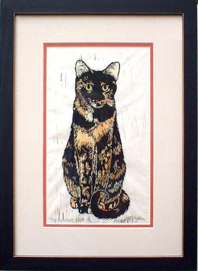 """The Roundest Eyes,"" matted and framed hand-tinted linoleum block print."