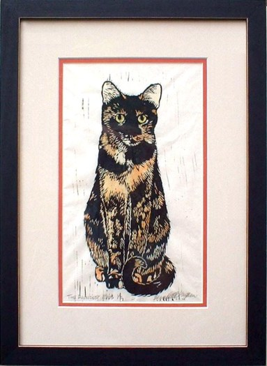 """""""The Roundest Eyes,"""" matted and framed hand-tinted linoleum block print."""