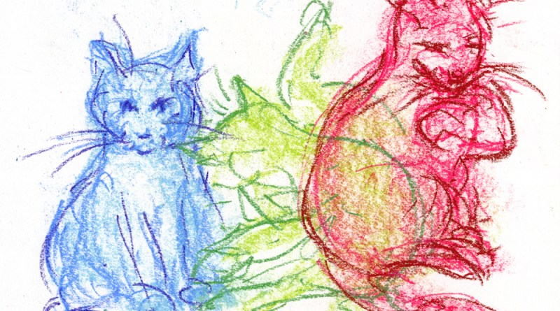 pastel sketch of three cats bathing