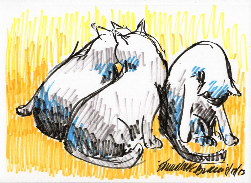 marker sketch of three black cats