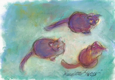pastel sketch of three cats