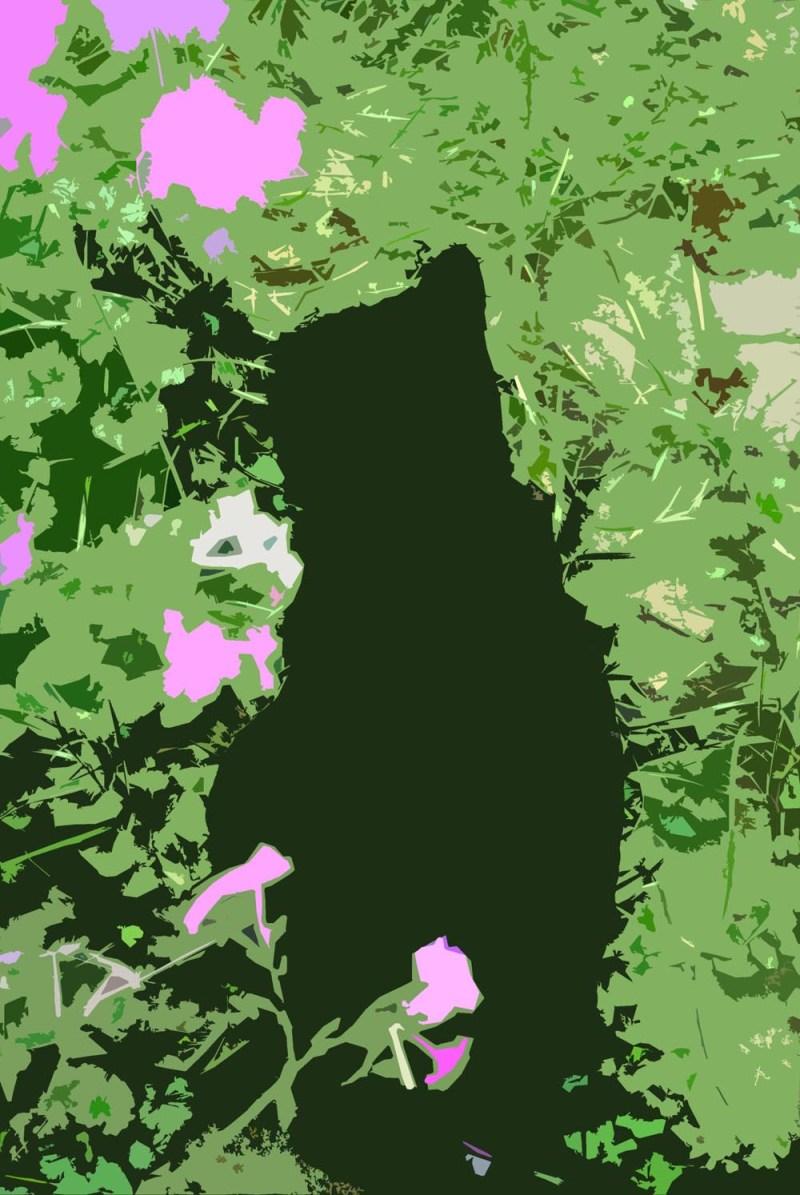 electronic sketch of cat in garden