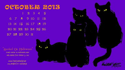 """Spooked on Halloween"" desktop calendar for wide and HD monitors."