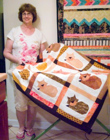 woman with quilt