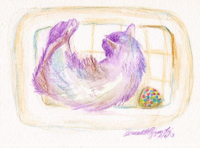 watercolor of cat in cat bed