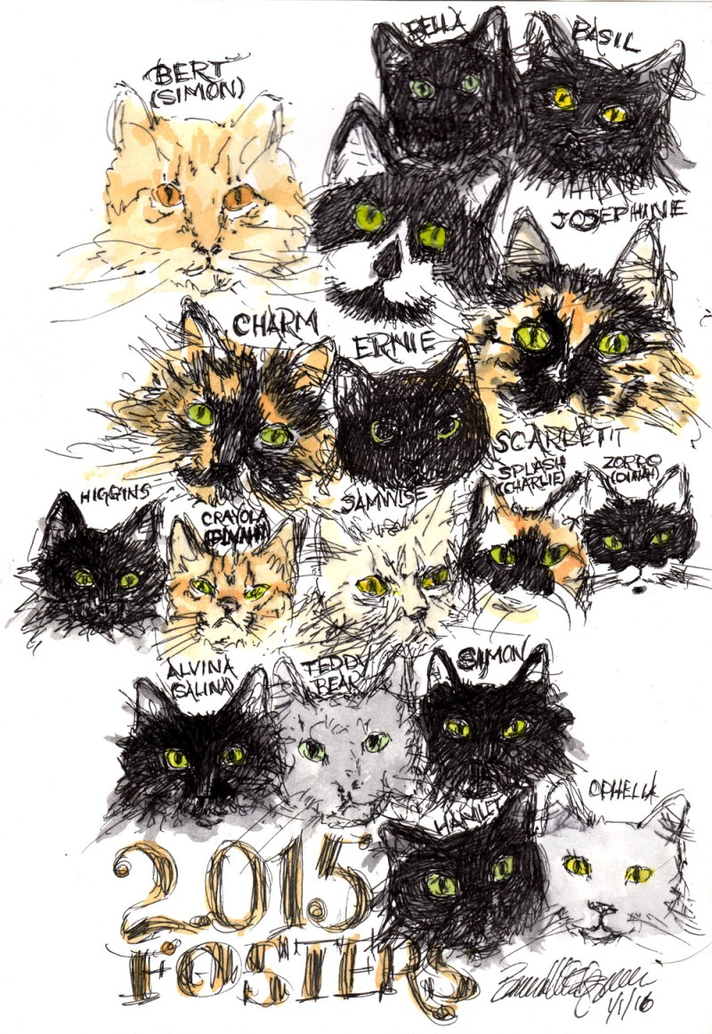 """2015 Foster Cats and Kittens"", ink and watercolor, 9.6"" x 6.5"" © Bernadette E. Kazmarski"