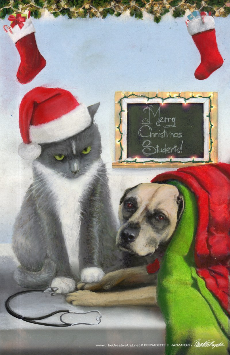 "The sketch for ""A Christmas to Purr About""."