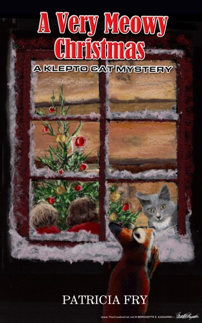 illustrated book cover for cozy cat mystery