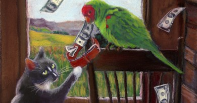 """Featured Artwork: Klepto Cat Book Cover No. 53, """"Rags Gets The Upper Paw"""""""
