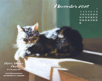 """After Dinner Nap"" desktop calendar, 1280 x 1024 for square and laptop monitors."