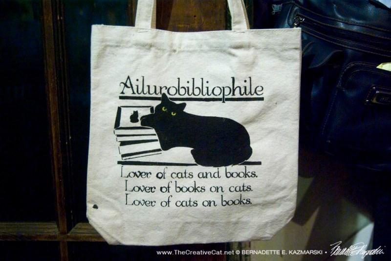 Ailurobibliophile on a tote bag.