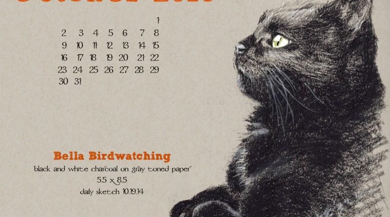 """Bella Birdwatching"" desktop calendar, 1280 x 1024 for square and laptop monitors."