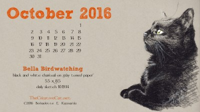 """Bella Birdwatching"" desktop calendar 2560 x 1440 for HD and wide screens."