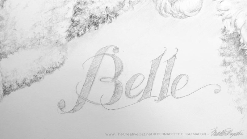 The text added to Belle's portrait.