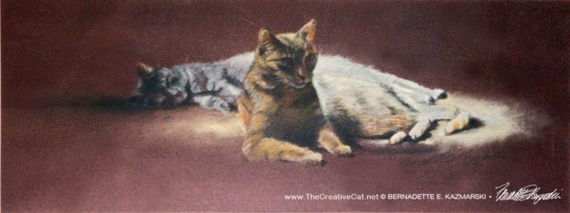 Best Friends, pastel on burgundy Canson Mi Tientes paper, 9 x 24, 1992 © Bernadette E. Kazmarski